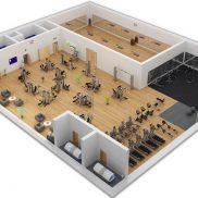 Коммерческий тренажерный зал площадью 317 м.кв.