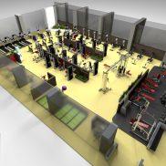 Комплект тренажерного зала площадь 180 м.кв.